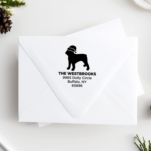 French Bull Dog With Santa Hat Holiday Address Stamp