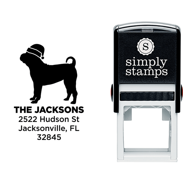 Pug Dog With Santa Hat Holiday Address Stamp