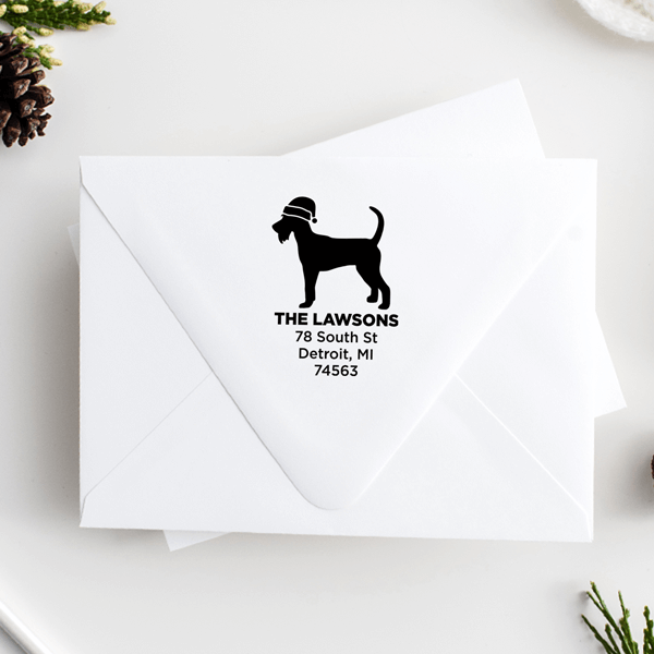 Schnauzer Dog With Santa Hat Holiday Address Stamp