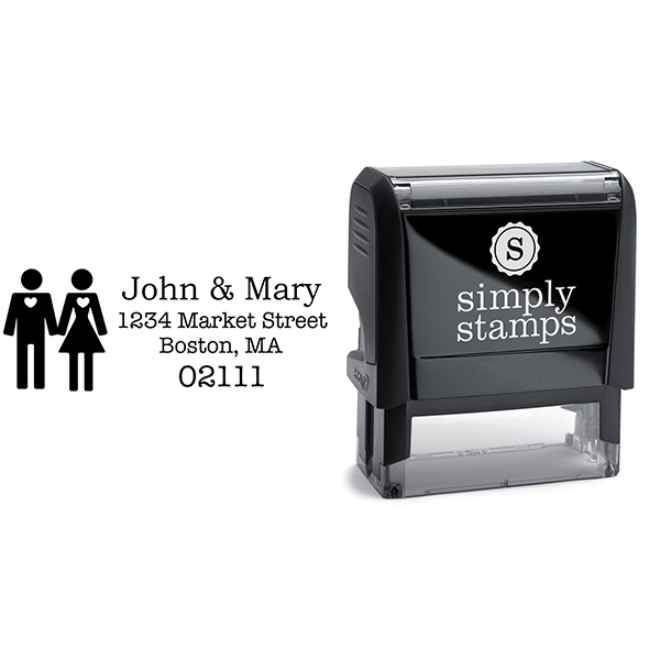 Married Couple Icon Return Address Stamp Body and Design