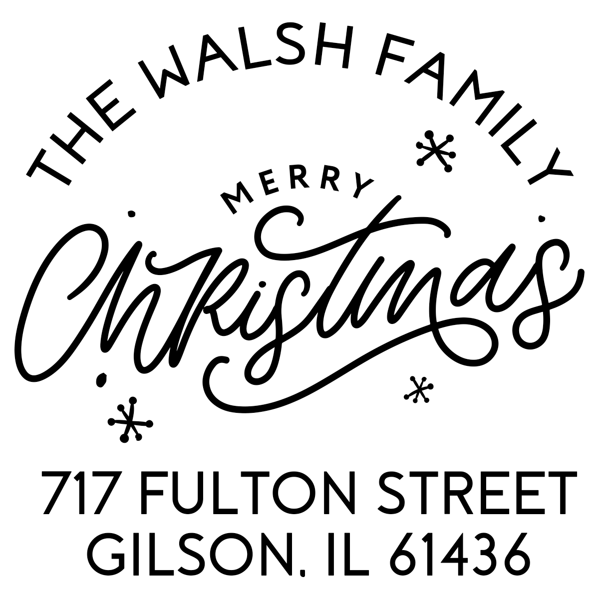 Merry Christmas with Snowflakes Custom Holiday Address Stamp
