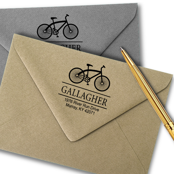 Gallagher Bicycle Return Address Stamp Imprint Example