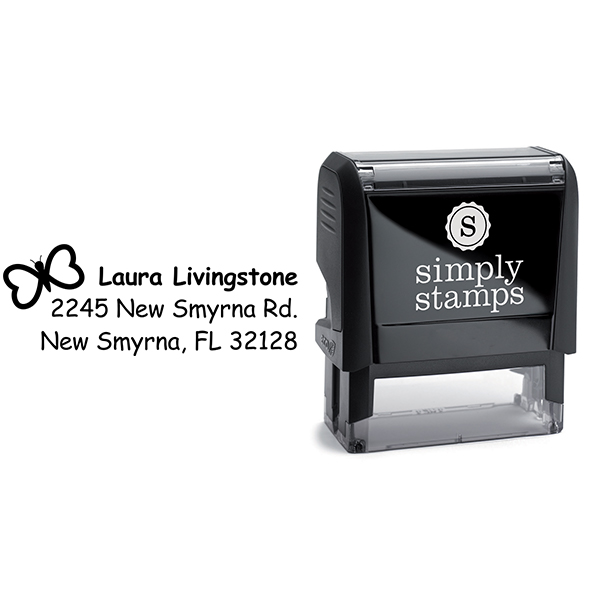Heart Butterfly Return Address Stamp Body and Design