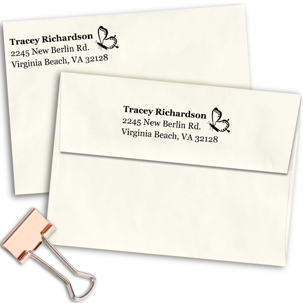 Dotted Butterfly Right Return Address Stamp Imprint Example