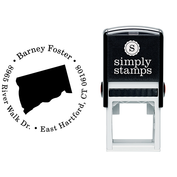 Connecticut Round Address Stamp Body and Design