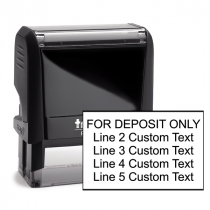 5 Line Traditional Rubber Stamp For Deposit Only