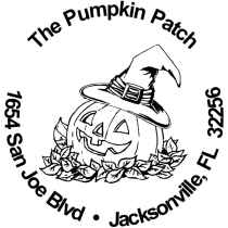 Witch Hat Pumpkin Patch Rubber Stamp