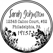 Bird Perched on Flowers Address Stamp
