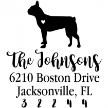 Boston Terrier Love Address Stamp