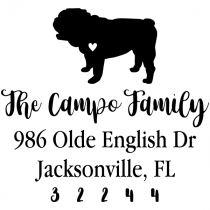 English Bulldog Love Address Stamp