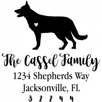 German Shepard Love Address Stamp