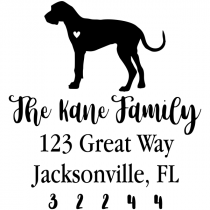 Great Dane Love Address Stamp