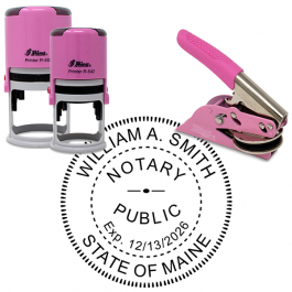 Maine Notary Pink - Round Design Seal