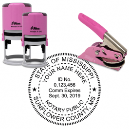 Mississippi Notary Pink - Round Design Seal