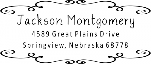 Montgomery Curly Deco Border Address Stamp