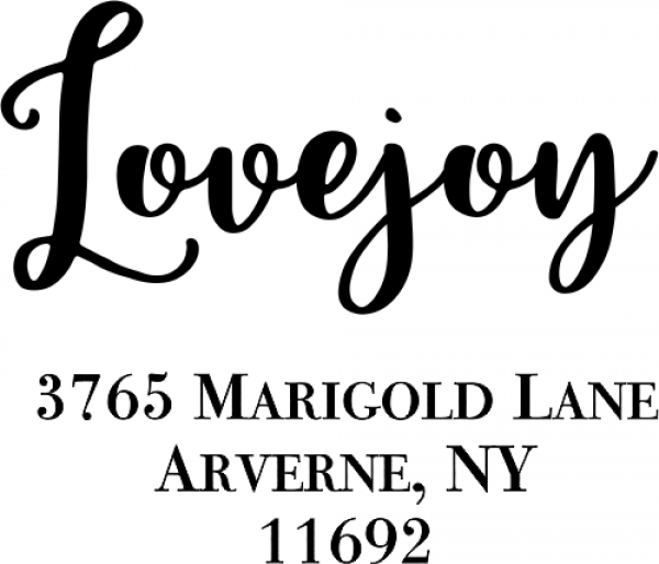 Lovejoy Script Address Stamp