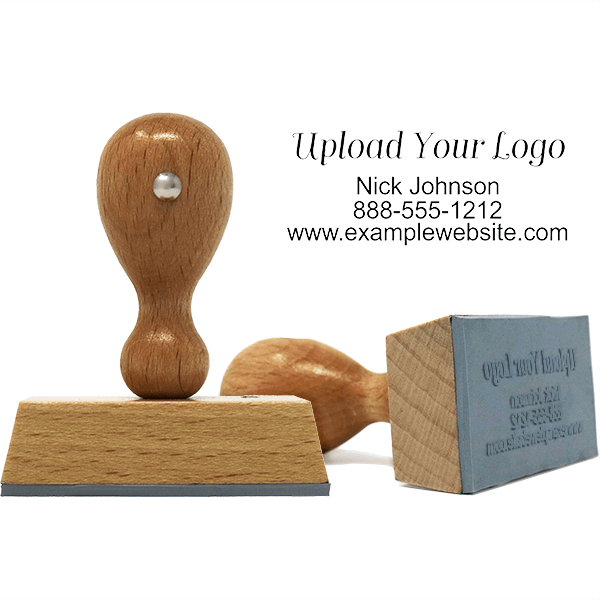 Rectangle Logo Custom Hand Stamp with Three Lines of Text