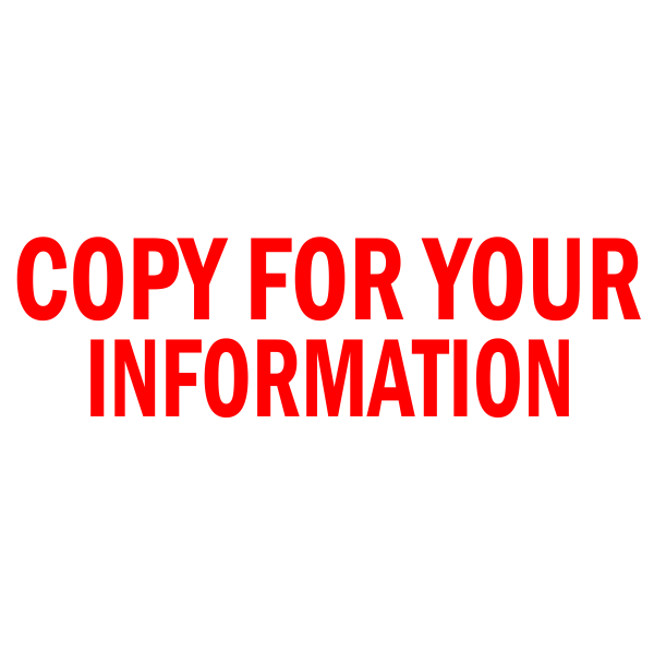 COPY FOR YOUR INFORMATION Stock Stamp
