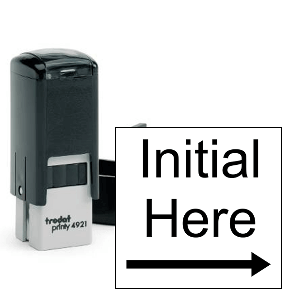 Initial Here Right Arrow Self Inking Stamp