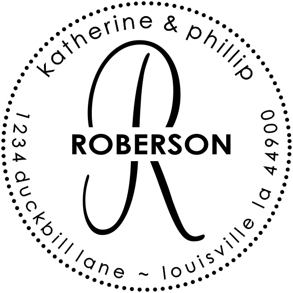 Return rubber address stamp Roberson Small