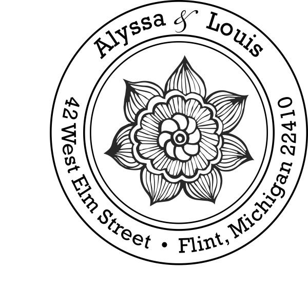Henna Daisy Flower Return Address Stamp