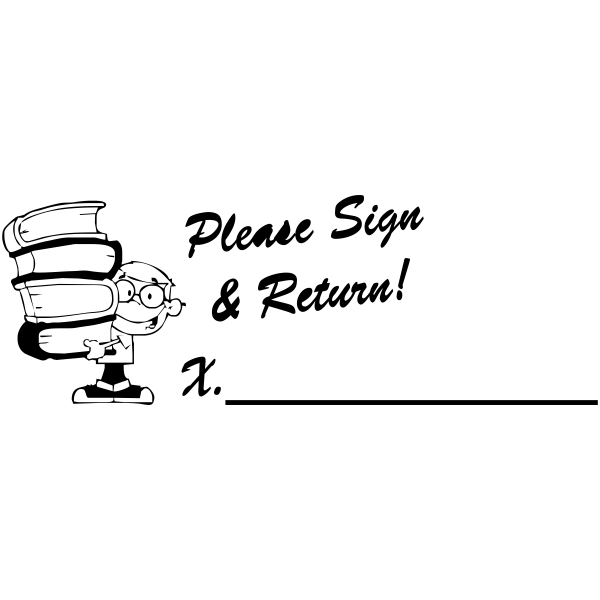 Sign And Return - Student Book Stack Rubber Teacher Stamp