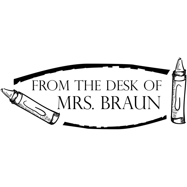 From The Desk Of - Crayons Rubber Teacher Stamp