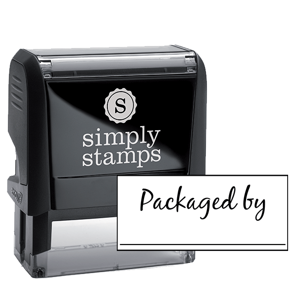 Packaged By Cursive Signature Line Packaging Stamp