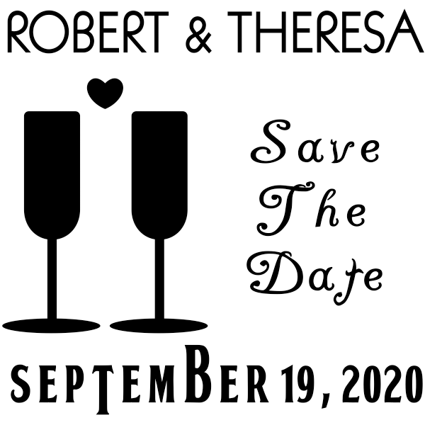 Heart Wine Glass Save the Date Stamp