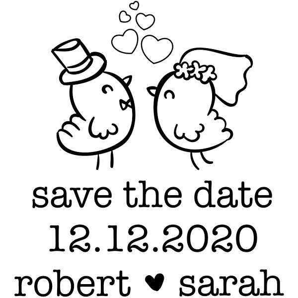 Couple Chicks Save the Date Stamp