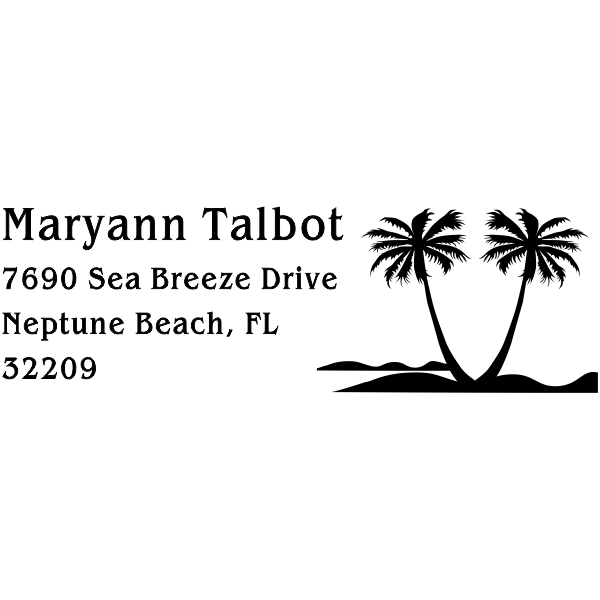 Double Palm Tree Return Address Stamp