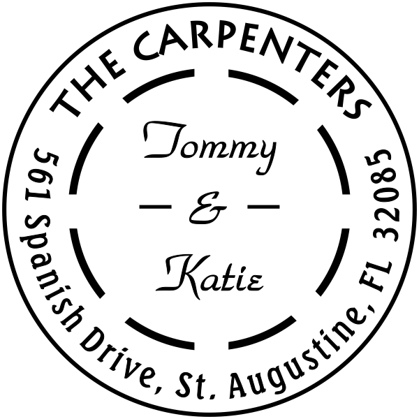 The Carpenters Double Dash Address Stamp