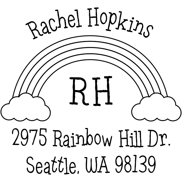 Rainbow Monogram Return Address Stamp