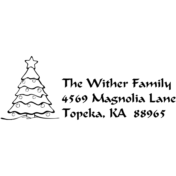 Christmas Tree Custom Return Address Stamp
