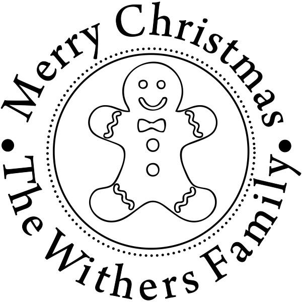 Custom Text Holiday Gingerbread Man Stamp