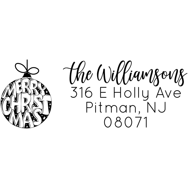 Merry Christmas Ornament Custom Holiday Address Stamp