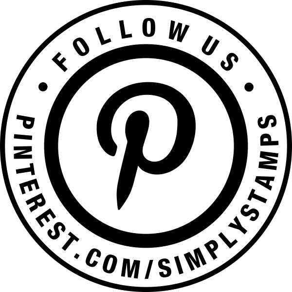 Follow Us On Pinterest URL Round Stamp