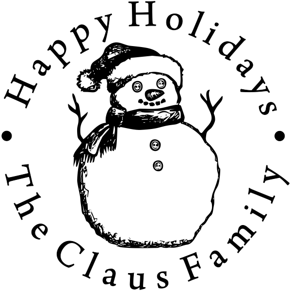 Happy Holidays Snowman Rubber Stamp