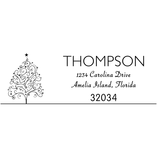 Curly Christmas Tree Address Stamper