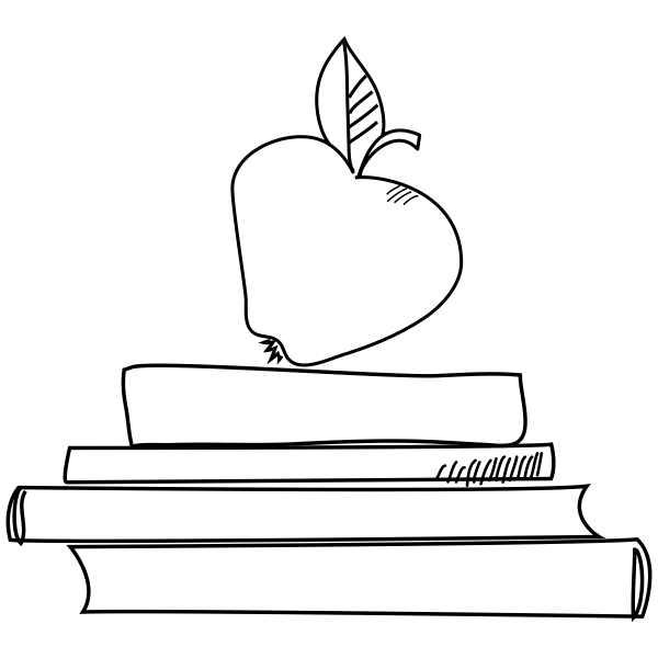 Books and Apple Craft Stamp