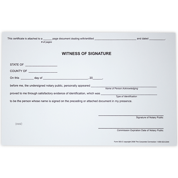 Witness Signature Notary Certificates