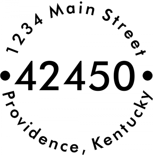 Centered zip round address stamp