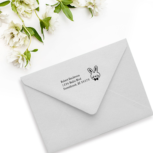 Bunny Head Easter Address Stamp Imprint Example