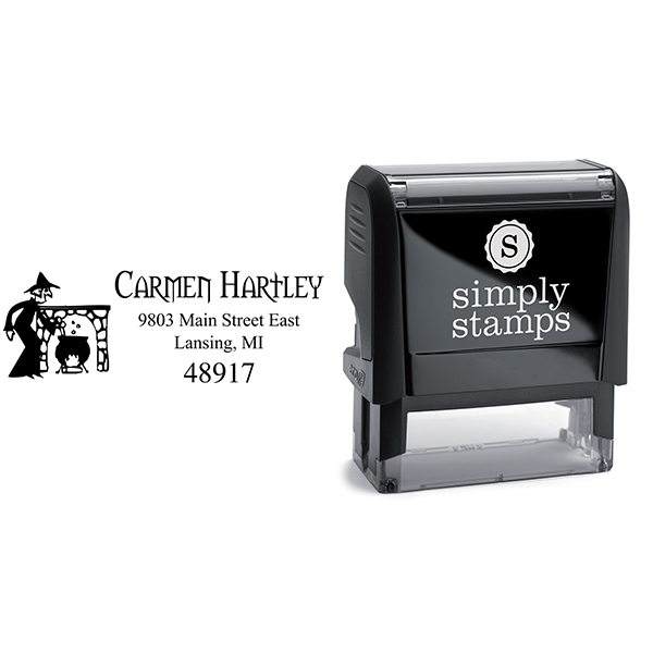 Witches Brew Halloween Return Address Stamp Body and Design