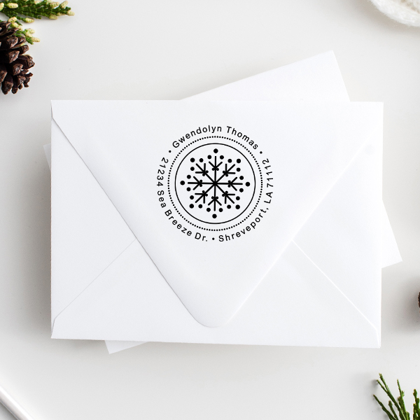 Dotted Snowflake Return Address Stamp Imprint Example