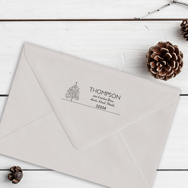 Curly Christmas Tree Return Address Stamp Imprint Example