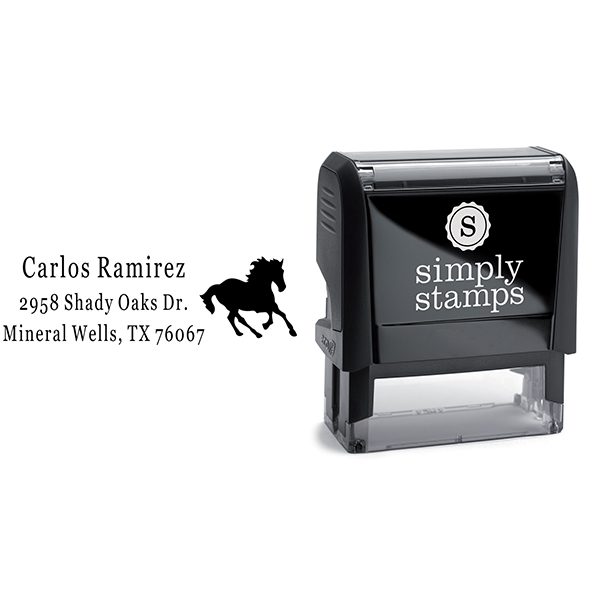 Running Mustang Return Address Stamp Body and Design