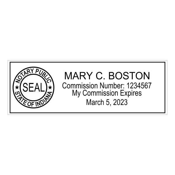 Indiana Notary Pink Stamp - Rectangle Imprint Example