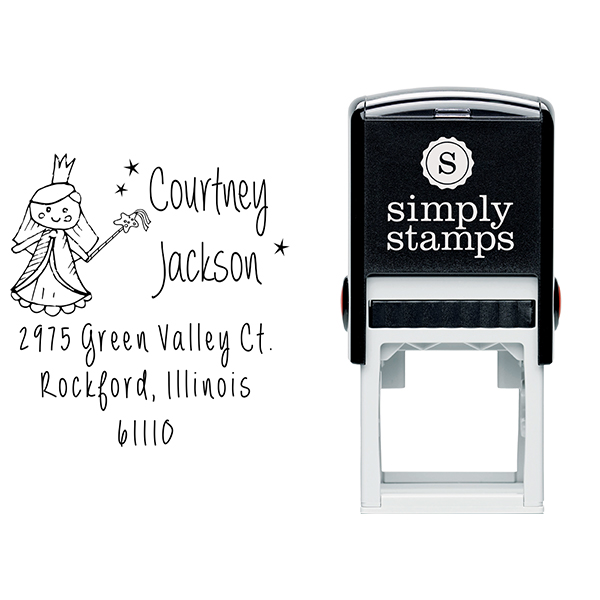 Fairy Princess Doll Return Address Stamp Body and Design