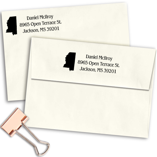Mississippi Return Address Stamp Imprint Example